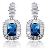 Elegant Zircon/Platinum Plated Ladies' Earrings
