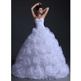 Corte de baile Escote corazón Hasta el suelo Organdí Vestido de novia con Volantes Bordado (002017332)