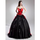 Duchesse-Linie Wellenkante Sweep/Pinsel zug Satin Quinceañera Kleid (Kleid für die Geburtstagsfeier) mit Perlstickerei Applikationen Spitze Pailletten