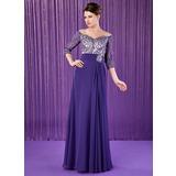 A-Linie/Princess-Linie Off-the-Schulter Bodenlang Chiffon Kleid für die Brautmutter mit Rüschen Lace Perlen verziert