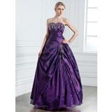 Duchesse-Linie Herzausschnitt Bodenlang Taft Quinceañera Kleid (Kleid für die Geburtstagsfeier) mit Bestickt Perlen verziert