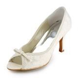 Lace Stiletto Heel Peep Toe Pumps Wedding Shoes With Bowknot (047005735)
