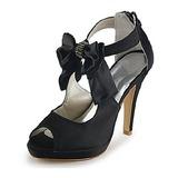 Frauen Satiniert Kegel Absatz Peep Toe Plateauschuh Sandalen mit Flakem Straß