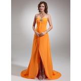 Empire-Linie Herzausschnitt Asymmetrisch Chiffon Festliche Kleid mit Rüschen Perlen verziert