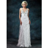 Sheath/Column V-neck Watteau Train Chiffon Charmeuse Lace Wedding Dress With Ruffle Beading Bow(s)