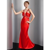 Sheath V-neck Floor-Length Satin Prom Dress With Ruffle Beading (018014737)