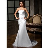 Sheath/Column Strapless Court Train Satin Wedding Dress With Ruffle (002001683)