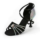 Women's Satin Heels Latin Ballroom Wedding Party With Rhinestone Ankle Strap Dance Shoes