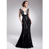 Empire V-neck Court Train Chiffon Mother of the Bride Dress With Beading Flower(s) Sequins Pleated