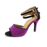 Women's Nubuck Pumps Latin Ballroom With Buckle Dance Shoes
