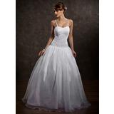 Corte de baile Escote corazón Hasta el suelo Satén Organdí Vestido de novia con Bordado