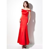 Mermaid Off-the-Shoulder Ankle-Length Satin Evening Dress (017016058)