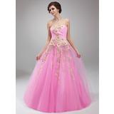 Duchesse-Linie Herzausschnitt Bodenlang Tüll Quinceañera Kleid (Kleid für die Geburtstagsfeier) mit Rüschen Perlen verziert Applikationen Spitze