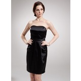 Sheath Sweetheart Knee-Length Charmeuse Cocktail Dress (016008558)