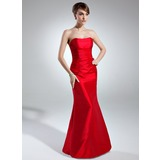 Trumpet/Mermaid Sweetheart Floor-Length Taffeta Bridesmaid Dress With Ruffle