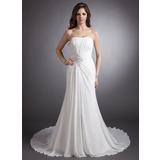 A-Line/Princess Sweetheart Chapel Train Chiffon Wedding Dress With Ruffle Beading Appliques Lace