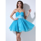 Empire Sweetheart Short/Mini Organza Satin Homecoming Dress With Ruffle Beading Sequins (022020926)