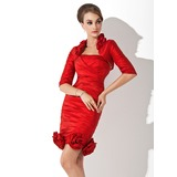 Sheath/Column Halter Knee-Length Taffeta Mother of the Bride Dress With Ruffle Flower(s)