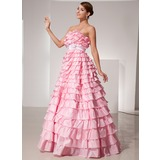 Ball-Gown Strapless Floor-Length Taffeta Prom Dress With Sash (018014476)