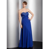 Empire Sweetheart Sweep Train Chiffon Prom Dress With Beading Flower(s) (018021101)