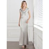 Sheath Cowl Neck Floor-Length Charmeuse Mother of the Bride Dress With Lace (008005292)
