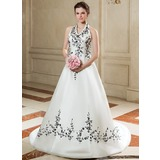 A-Line/Princess Halter Court Train Satin Wedding Dress With Embroidered