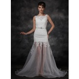 A-Line/Princess Court Train Organza Satin Wedding Dress With Lace Beadwork Sequins (002011595)