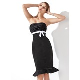 Empire Sweetheart Knee-Length Satin Cocktail Dress With Ruffle Sash (016022562)