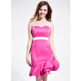Sheath Sweetheart Asymmetrical Satin Bridesmaid Dress With Sash (007025369)
