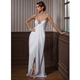 Sheath Sweetheart Sweep Train Chiffon Tulle Evening Dress With Beading (017021087)