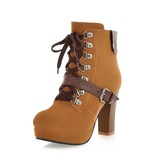 Suede Chunky Heel Ankle Boots With Buckle shoes