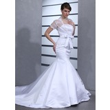 Trumpet/Mermaid Strapless Chapel Train Satin Wedding Dress With Bow(s)