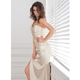 Empire One-Shoulder Asymmetrical Charmeuse Prom Dress With Ruffle Lace (018005319)