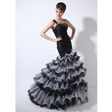 Mermaid One-Shoulder Sweep Train Organza Prom Dress With Ruffle Beading (018020976)