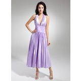 A-Line/Princess Halter Tea-Length Charmeuse Homecoming Dress With Lace Beading Pleated