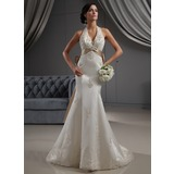 Trumpet/Mermaid Halter Chapel Train Satin Wedding Dress With Embroidered Lace Sash Beading Sequins Bow(s)