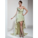 A-Line/Princess One-Shoulder Asymmetrical Taffeta Tulle Prom Dress With Ruffle Beading