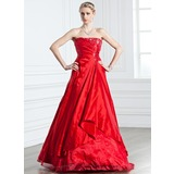 A-Line/Princess Strapless Floor-Length Taffeta Quinceanera Dress With Ruffle Beading