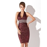 Sheath Halter Knee-Length Sequined Cocktail Dress With Beading (016008512)