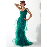 Trumpet/Mermaid One-Shoulder Sweep Train Organza Mother of the Bride Dress With Beading Cascading Ruffles