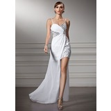 Sheath Sweetheart Asymmetrical Chiffon Prom Dress With Ruffle Beading (018022506)