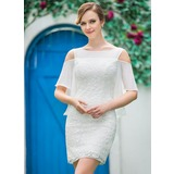 Sheath/Column Off-the-Shoulder Short/Mini Chiffon Lace Wedding Dress With Cascading Ruffles