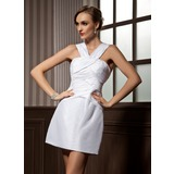 Forme Fourreau Col V Court/Mini Taffeta Robe de cocktail avec Plissé
