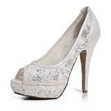 Lace Leatherette Stiletto Heel Peep Toe Platform Pumps Wedding Shoes With Rhinestone (047020119)