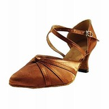 Satin Heels Modern Dance Shoes With Ankle Strap (053013025)