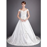 Ball-Gown Off-the-Shoulder Chapel Train Satin Wedding Dress With Embroidered Beading Sequins