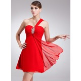 Empire One-Shoulder Short/Mini Chiffon Homecoming Dress With Ruffle Beading