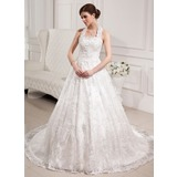 Ball-Gown Halter Chapel Train Satin Lace Wedding Dress With Beadwork Sequins (002012035)