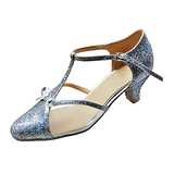Femmes Vrai cuir Talons Escarpins Moderne avec Lanière en T Chaussures de danse