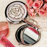 White Rose Cover Chrome Compact Mirror Favor (051020223)